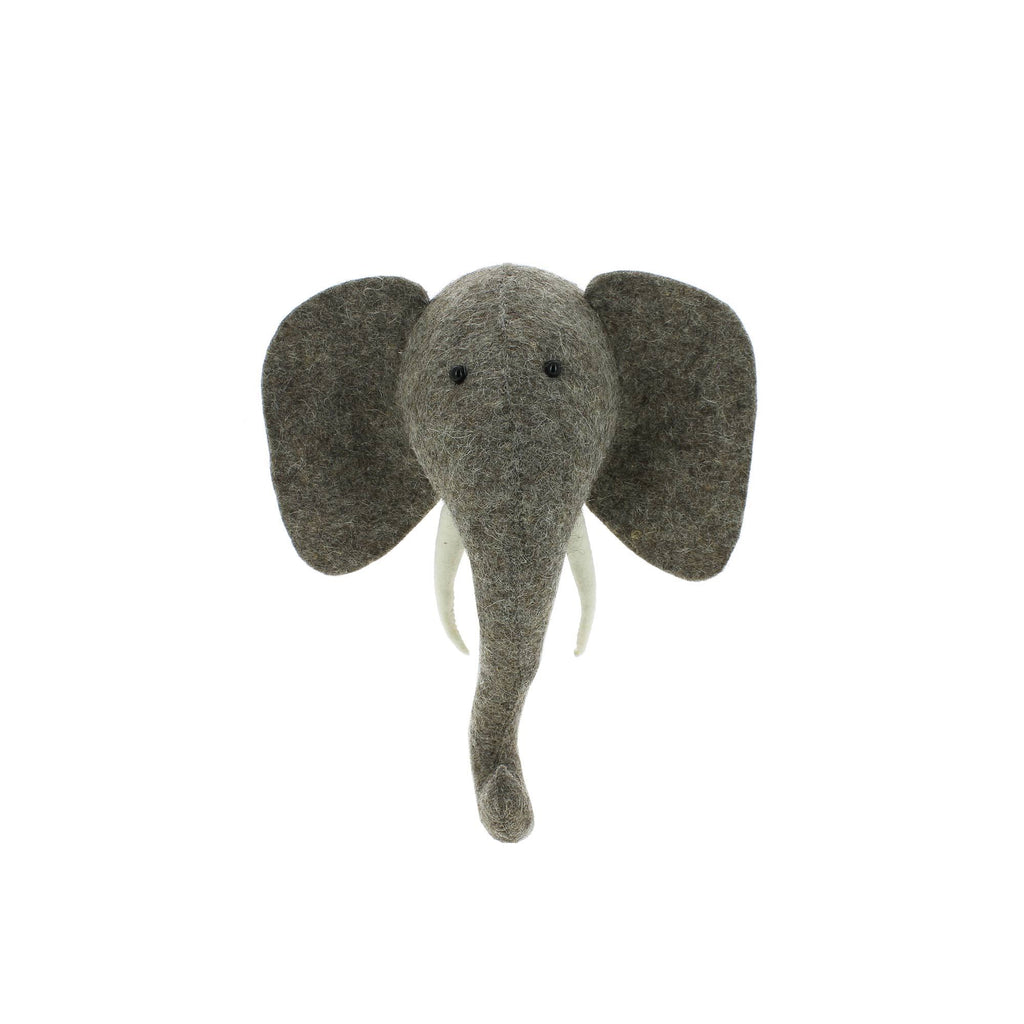 Mini Elephant Head to hang on the wall, made by Fiona Walker England and available at Bobby Rabbit.