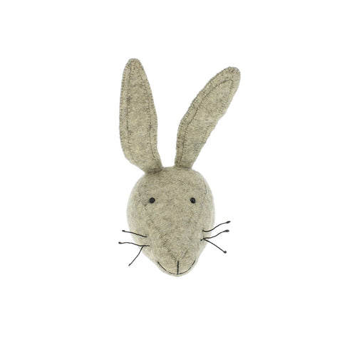 Mini Hare Head to hang on the wall, made by Fiona Walker England and available at Bobby Rabbit.