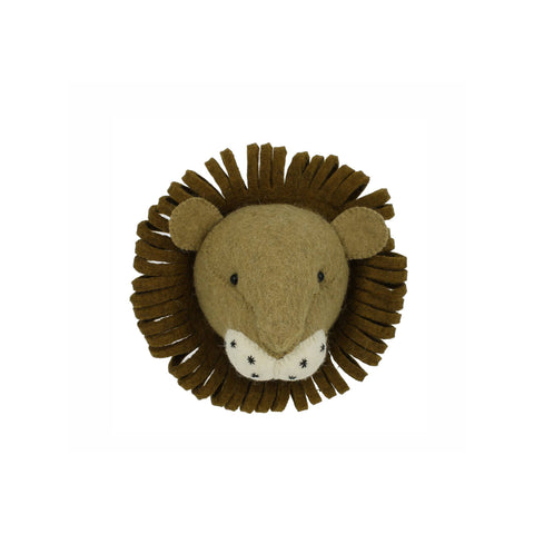 Mini Lion Head to hang on the wall, made by Fiona Walker England and available at Bobby Rabbit.