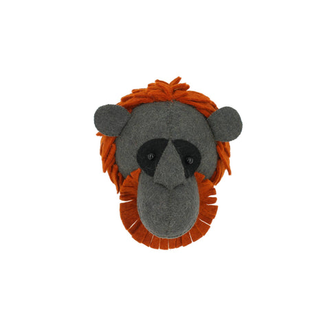 Mini Orangutan Head to hang on the wall, made by Fiona Walker England and available at Bobby Rabbit.