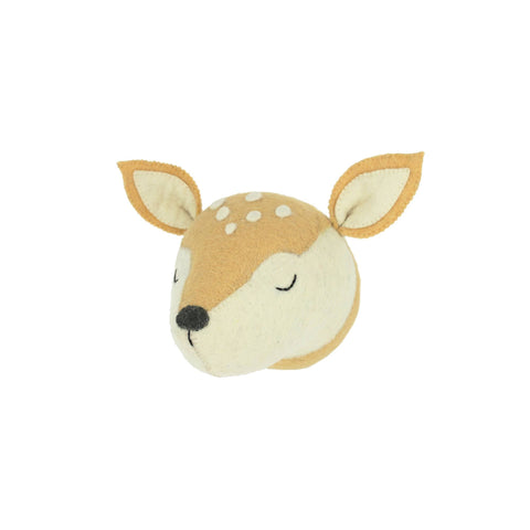 Mini Sleepy Deer Head to hang on the wall, made by Fiona Walker England and available at Bobby Rabbit.