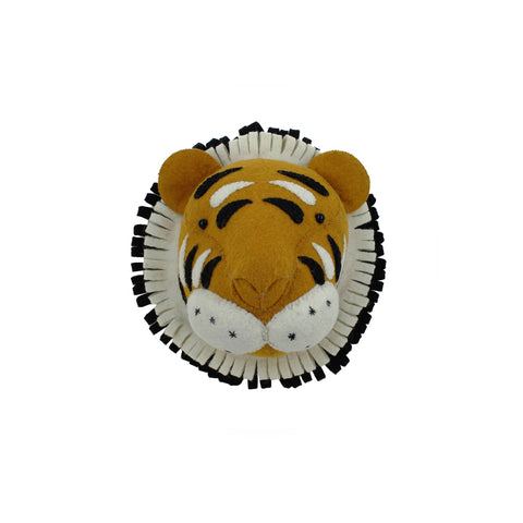 Mini Tiger Head to hang on the wall, made by Fiona Walker England and available at Bobby Rabbit.