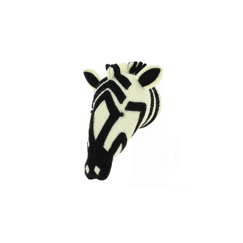 Mini Zebra Head to hang on the wall, made by Fiona Walker England and available at Bobby Rabbit.