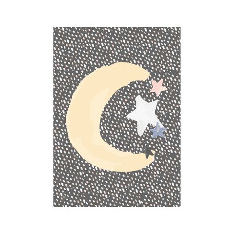 Moon and Stars A3 Print by Munks and Me, available at Bobby Rabbit.