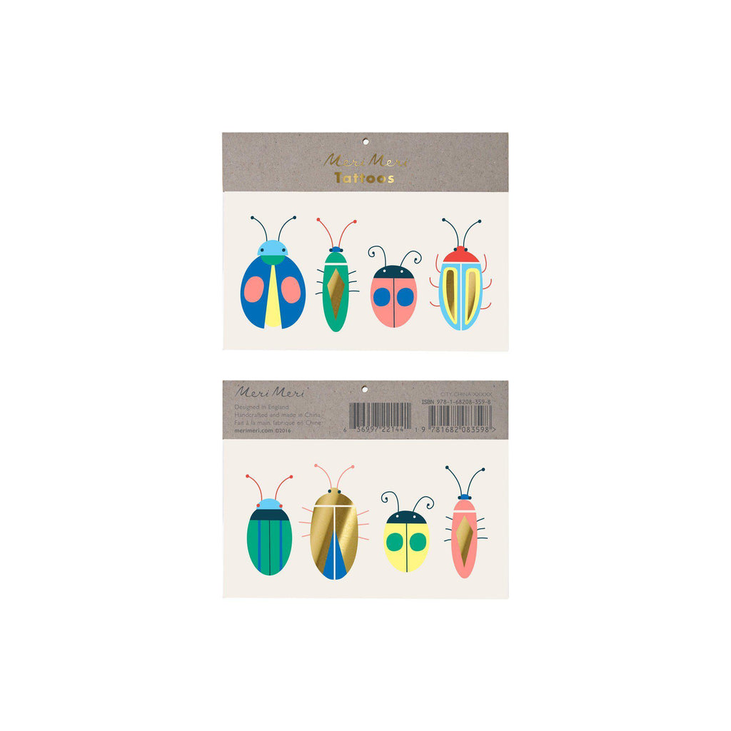 Neon Bugs Tattoos by Meri Meri, available at Bobby Rabbit.