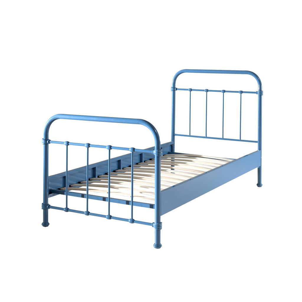 'New York' Blue Metal Single Bed by Vipack, available at Bobby Rabbit.