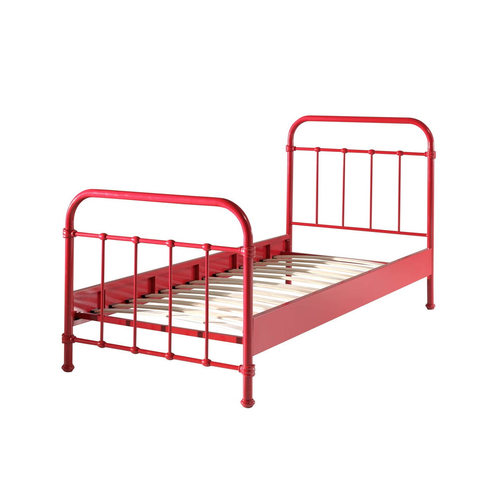 'New York' Red Metal Single Bed by Vipack, available at Bobby Rabbit.