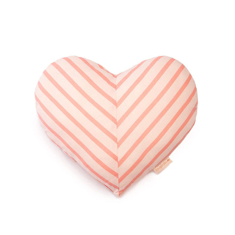 'Love' Heat-Shaped Striped Cushion by Nobodinoz, available at Bobby Rabbit.