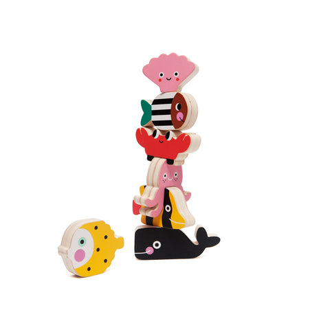 Ocean Stacking Wooden Toy by Petit Monkey, available at Bobby Rabbit.