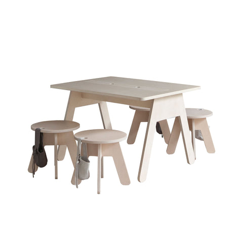 Peekaboo Desk and Stools by Kutikai, available at Bobby Rabbit.