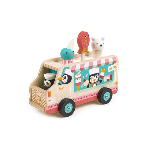 Penguin's Gelato Van Wooden Toy by Tenderleaf Toys, available at Bobby Rabbit.