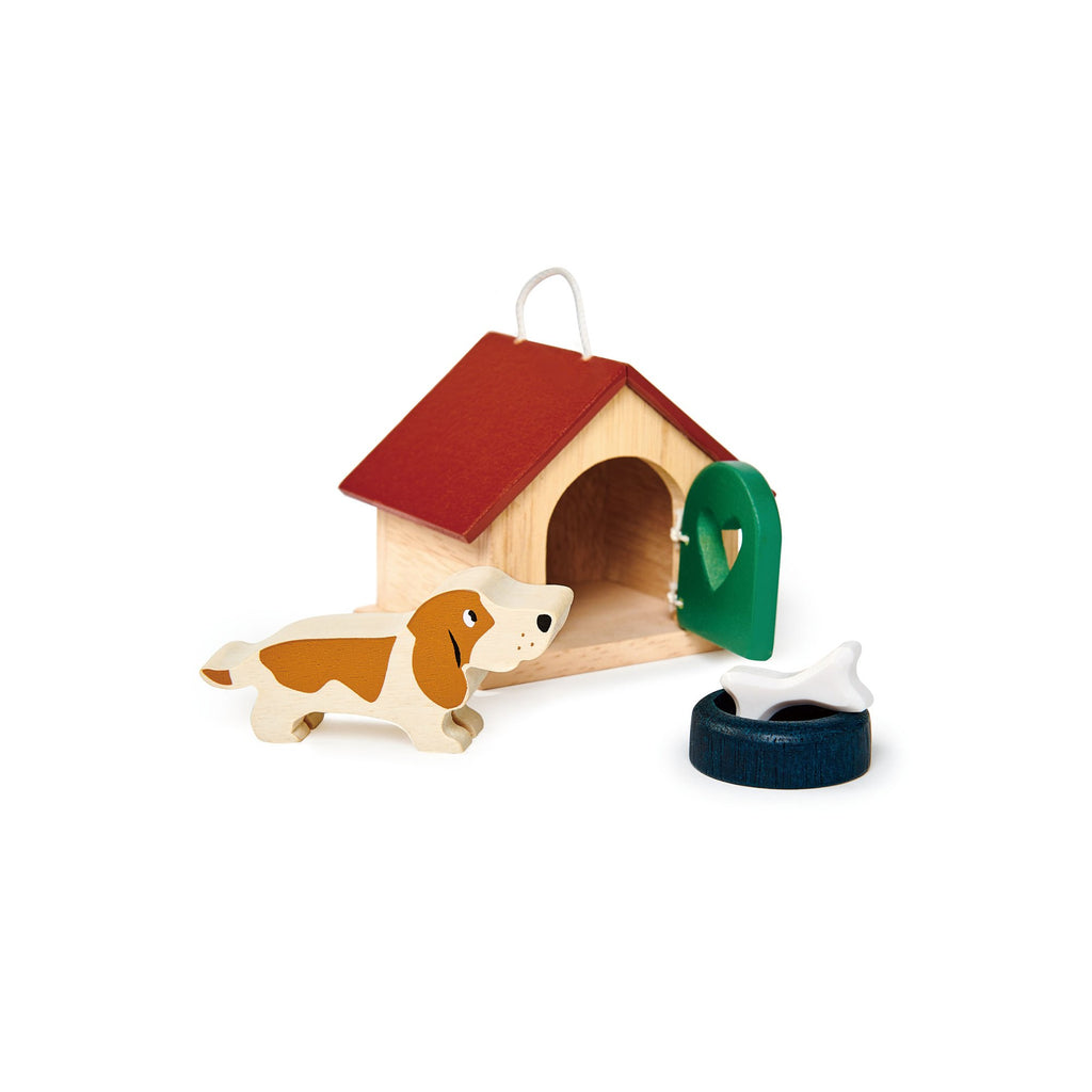 Pet Dog Set Wooden Toy by Tenderleaf Toys, available at Bobby Rabbit.