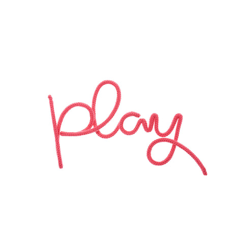'Play' Wall Decoration - Fuchsia Pink by Hey Kiddo, available at Bobby Rabbit.