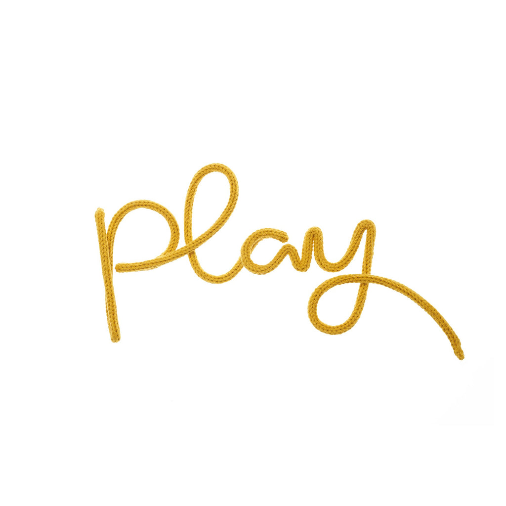 'Play' Wall Decoration - Mustard Yellow by Hey Kiddo, available at Bobby Rabbit.