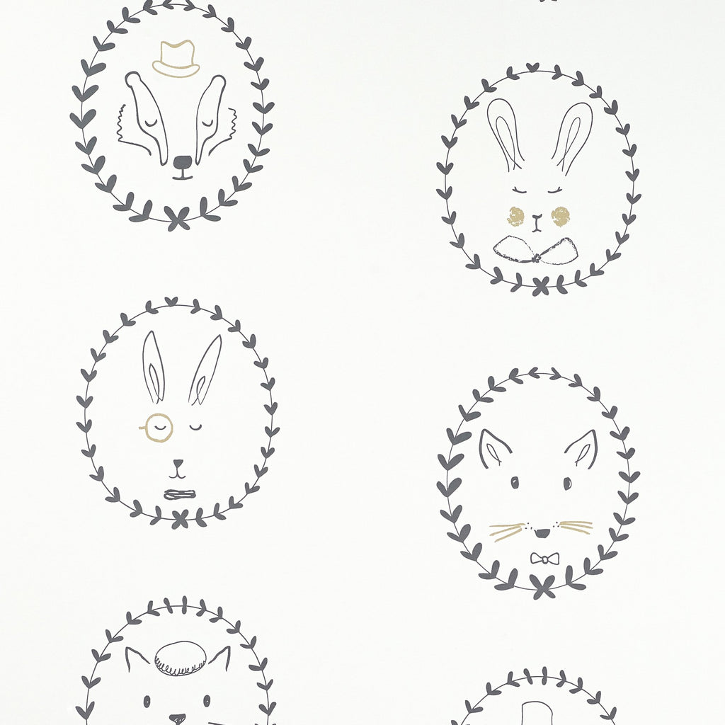 Portraits Wallpaper by Hibou Home, available at Bobby Rabbit.