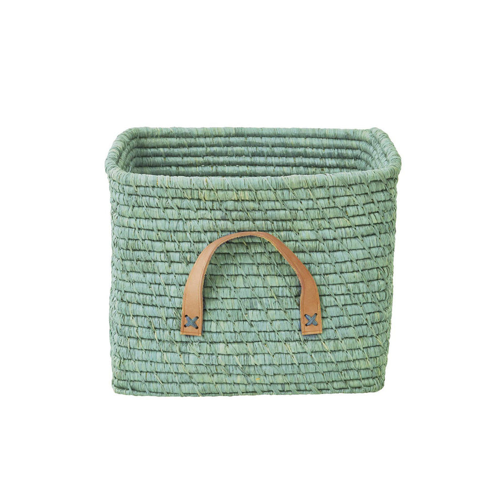 Mint Raffia Storage Basket by Rice, available at Bobby Rabbit.