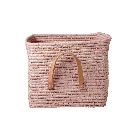 Pink Raffia Storage Basket by Rice, available at Bobby Rabbit.