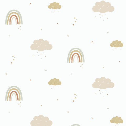 Rainbows Wallpaper - Mustard/Rose by Hibou Home, available at Bobby Rabbit.