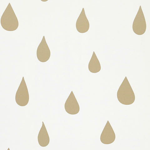 Raindrops Wallpaper - Gold by Hibou Home, available at Bobby Rabbit.