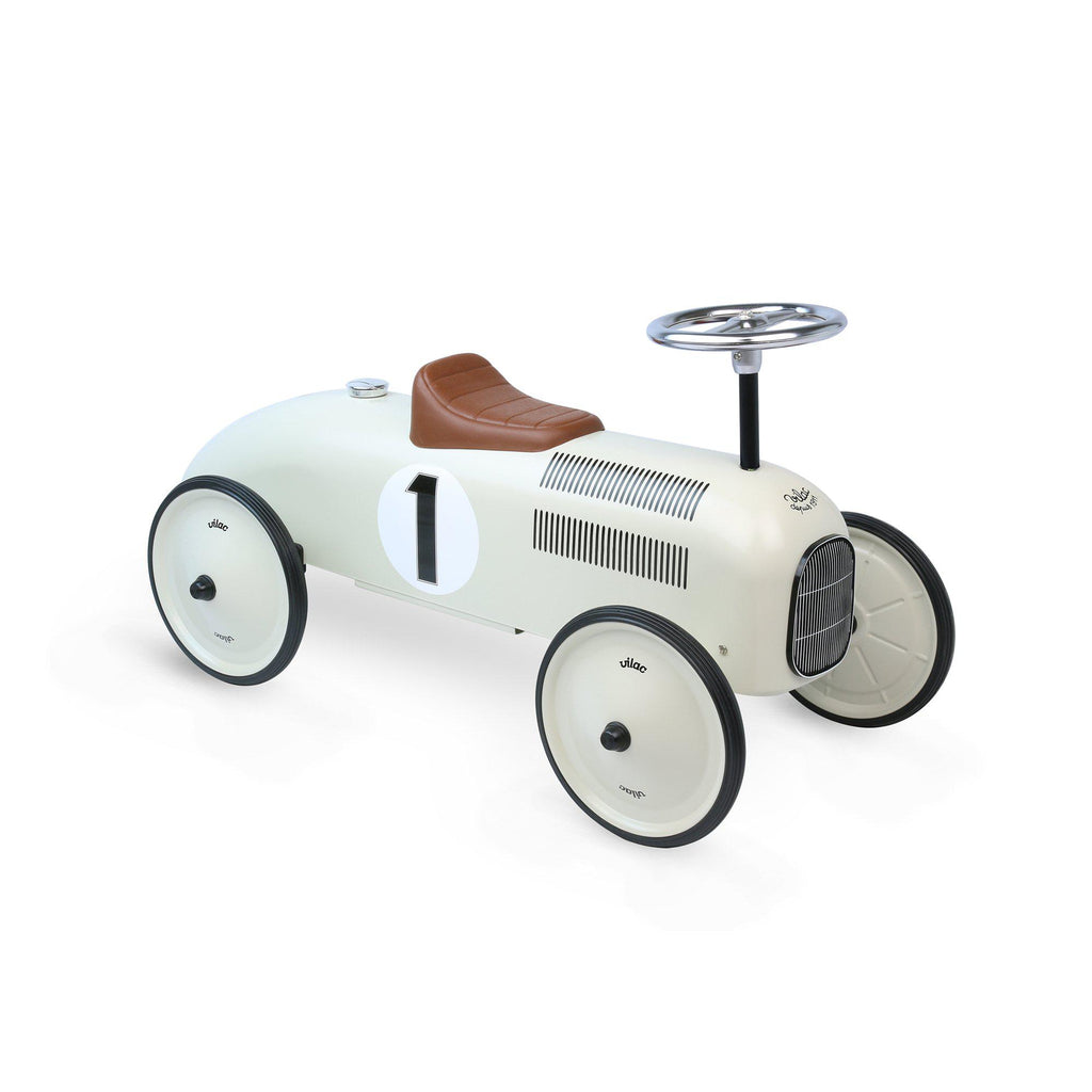Ride On Race Car - Cream Number 1 by Vilac, available at Bobby Rabbit.