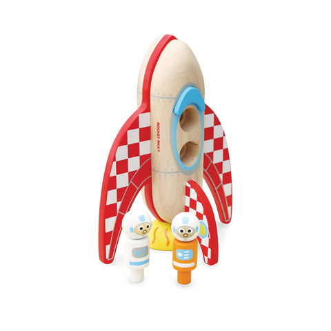 Rocket Ricky Wooden Toy Space Rocket by Jamm Toys, available at Bobby Rabbit.