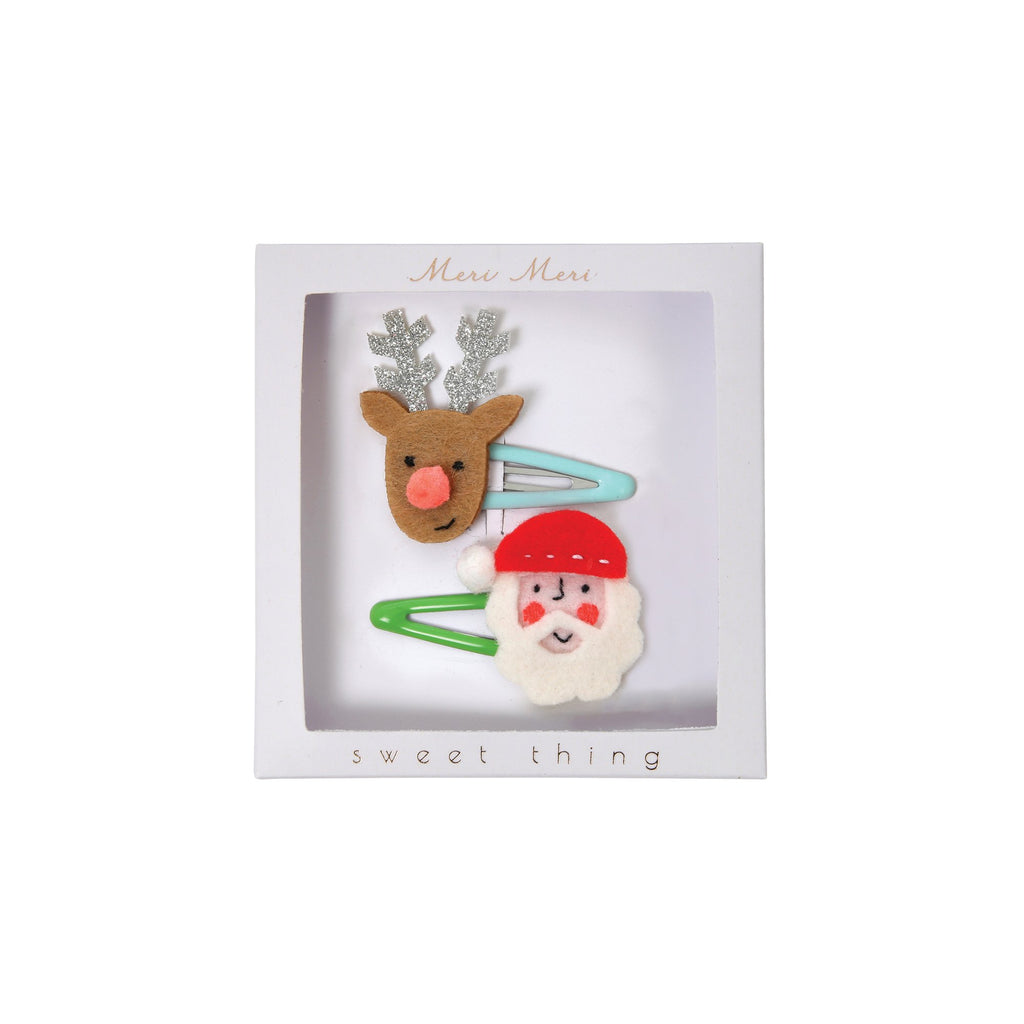 Set of 2 Santa and Reindeer Hair Clips by Meri Meri, available at Bobby Rabbit.