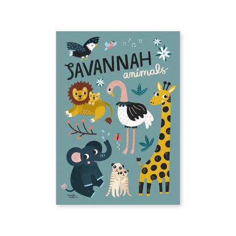 Savannah Animals Poster by Michelle Carlslund, available at Bobby Rabbit.