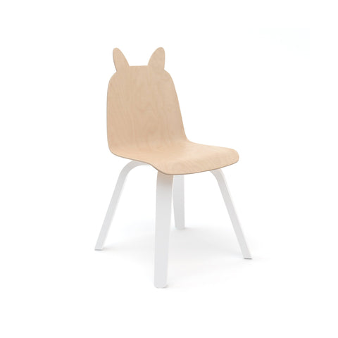 White and birch children's rabbit chairs by Oeuf NYC, also available as a bear version at Bobby Rabbit.