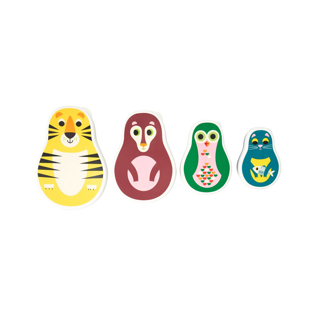 Set of 4 Matryoshka Animal Snack Pots, designed by Ingela P. Arrhenius for OMM Design and available at Bobby Rabbit.