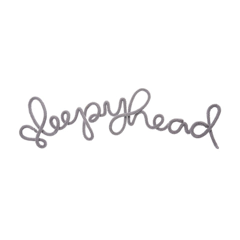 'Sleepyhead' Wall Decoration - Mouse Grey by Hey Kiddo, available at Bobby Rabbit.