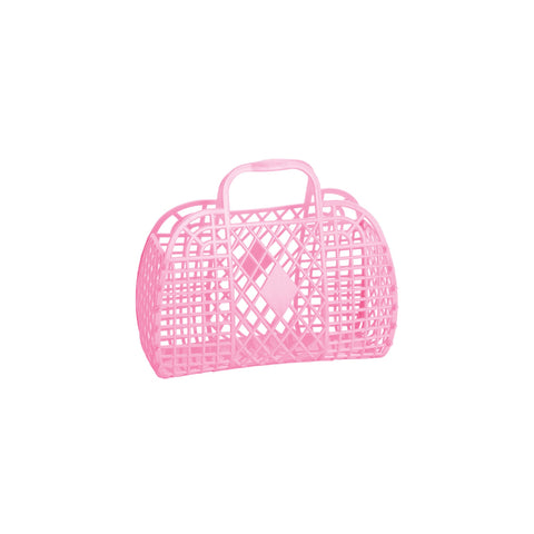 Small Bubblegum Pink Retro Basket by Sun Jellies, perfect for storing away those little treasures! Available at Bobby Rabbit.