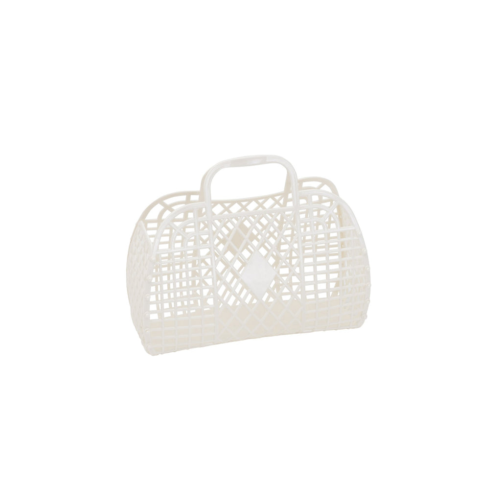 Small Cream Retro Basket by Sun Jellies, perfect for storing away those little treasures! Available at Bobby Rabbit.