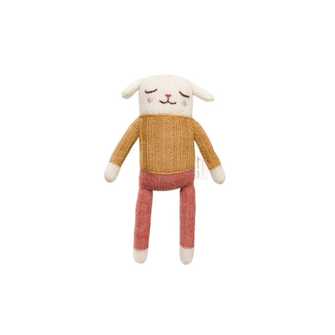 Small Knitted Lamb Ochre and Rose by Main Sauvage, available at Bobby Rabbit.