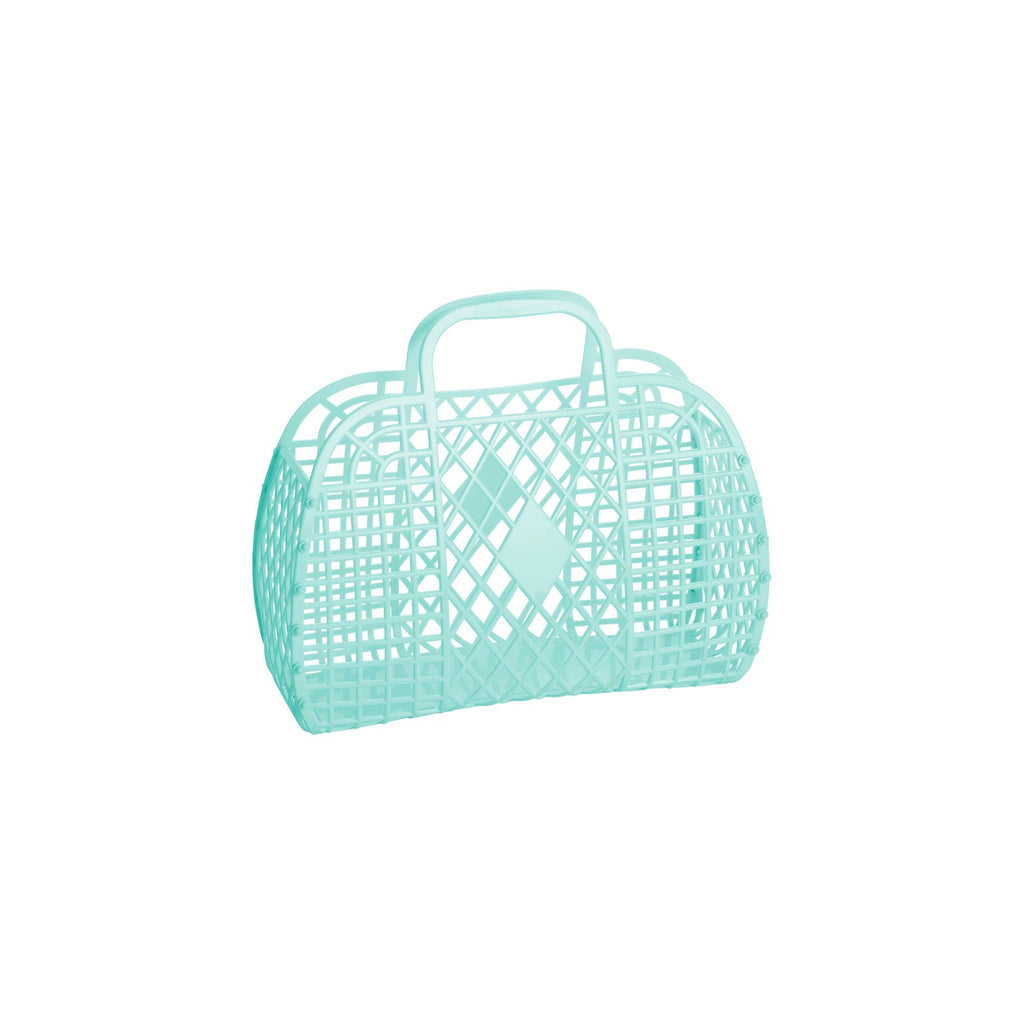 Small Mint Retro Basket by Sun Jellies, perfect for storing away those little treasures! Available at Bobby Rabbit.