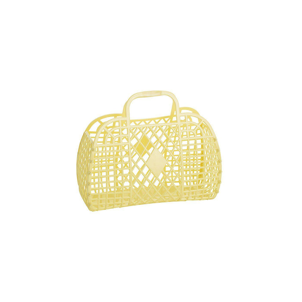 Small Yellow Retro Basket by Sun Jellies, perfect for storing away those little treasures! Available at Bobby Rabbit.