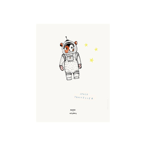 Space Traveller print for children's rooms, designed by Soft Gallery for Mado and available at Bobby Rabbit.
