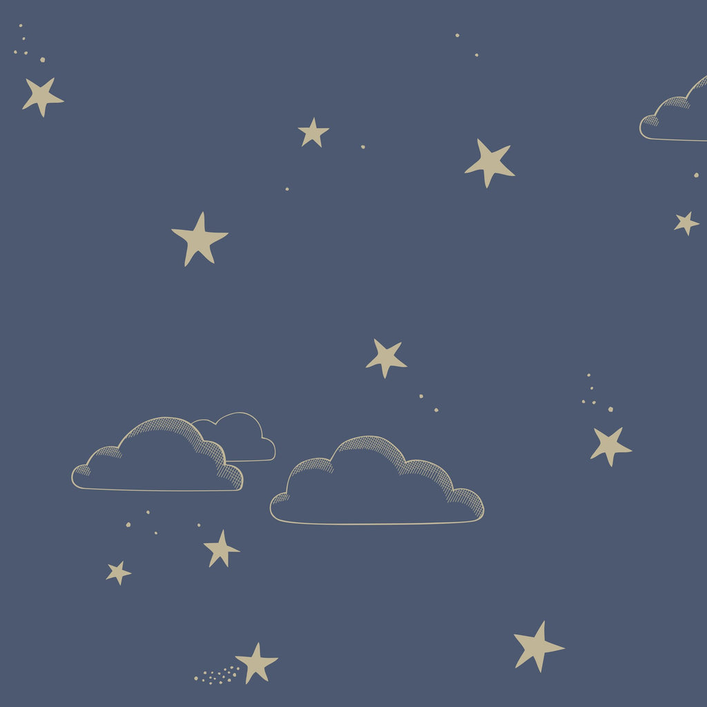 Starry Sky Wallpaper Indigo/Gold by Hibou Home, available at Bobby Rabbit.