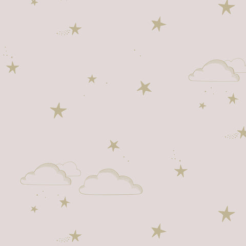 Starry Sky Wallpaper Pale Rose / Gold by Hibou Home, available at Bobby Rabbit.
