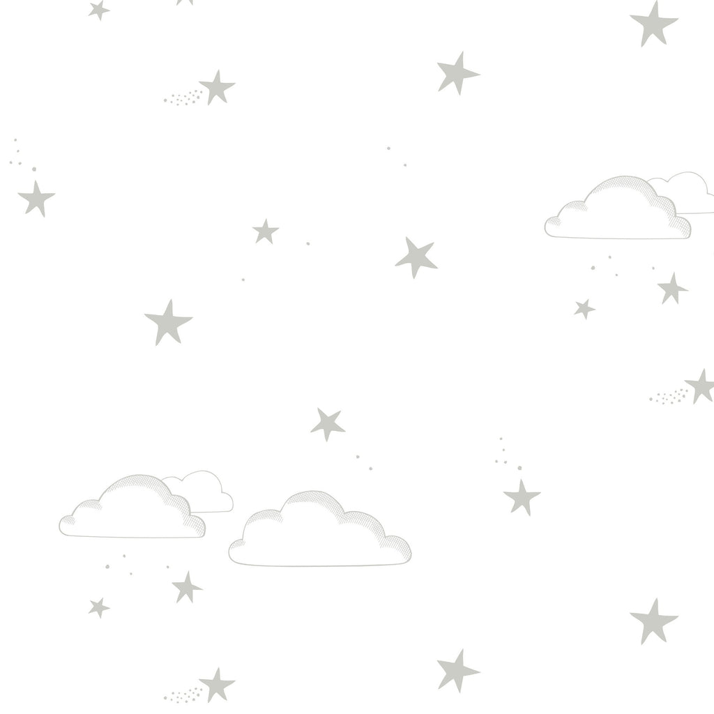 Starry Sky Wallpaper Silver/White by Hibou Home, available at Bobby Rabbit.
