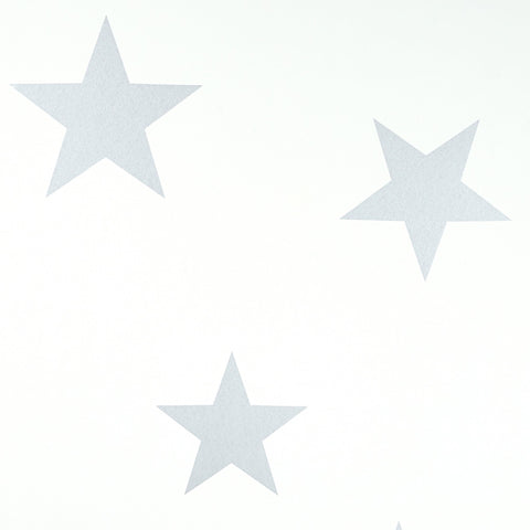 Stars Wallpaper - Silver / White by Hibou Home, available at Bobby Rabbit.