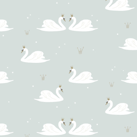 Swans Wallpaper - Mint by Hibou Home, available at Bobby Rabbit.