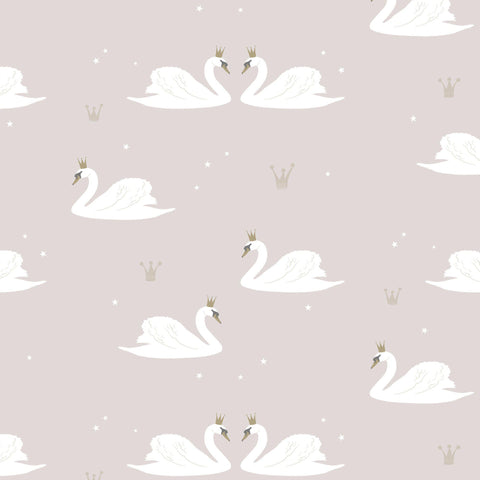 Swans Wallpaper - Pale Rose by Hibou Home, available at Bobby Rabbit.