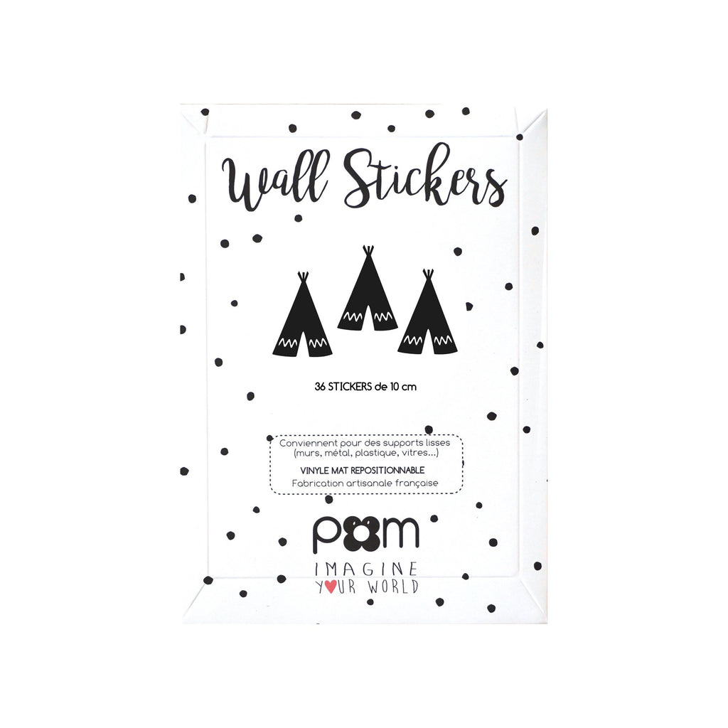 Black Teepees Wall Sticker Set by Pom, available at Bobby Rabbit.