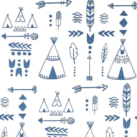 Teepees Wallpaper - Indigo/White by Hibou Home, available at Bobby Rabbit.