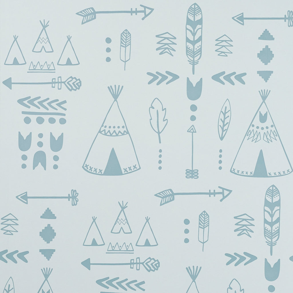 Teepees Wallpaper - Storm Green/Grey by Hibou Home, available at Bobby Rabbit.