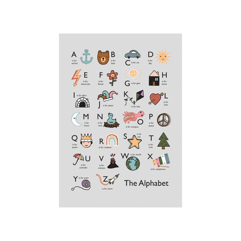 The Alphabet A3 Print - Grey by Kid Of The Village, available at Bobby Rabbit.