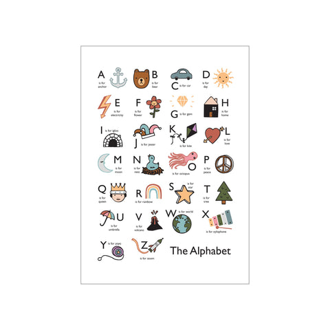 The Alphabet A3 Print - White by Kid Of The Village, available at Bobby Rabbit.