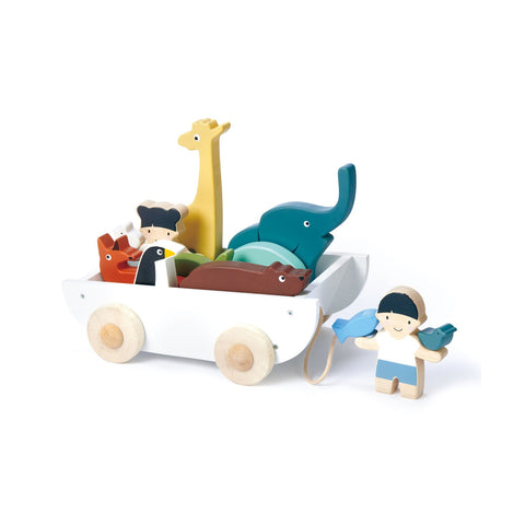 The Friend Ship Wooden Pull Along Toy by Tenderleaf Toys, available at Bobby Rabbit.
