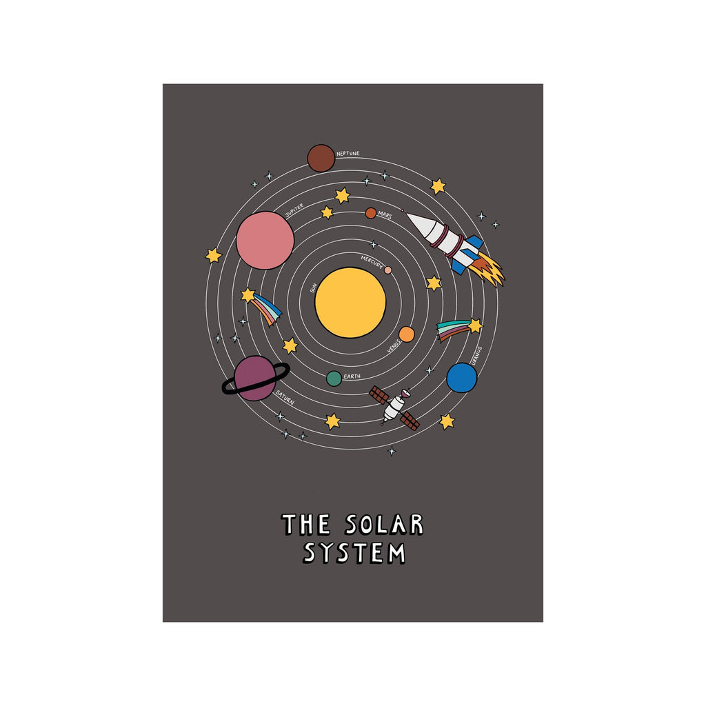 The Solar System A3 Print - Black by Kid Of The Village, available at Bobby Rabbit. Free UK Delivery over £75