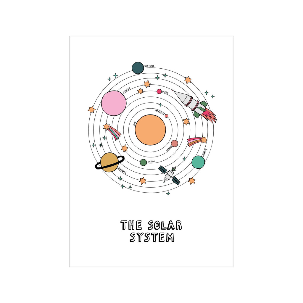 The Solar System A3 Print - White by Kid Of The Village, available at Bobby Rabbit. Free UK Delivery over £75